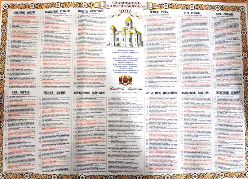 Calendar Crestin Ortodox.Calendar Crestin Ortodox 2011 Duminica Prima Zi A Saptamanii